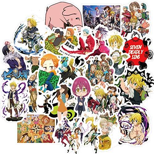 50PCS Anime The Seven Deadly Sins Stickers,Waterproof Vinyl Sticker Decals for Water Bottle Laptop