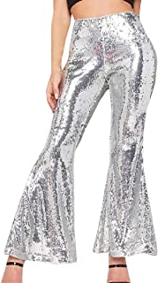 DressU Women's Sexy Evening Club Flared Sequins Jogger Pant Trousers