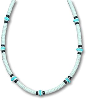 White Clam Heishe Puka Shell Necklace Blue Chip 2 Black Coco Surfer Beach Necklace - 5mm (3/16