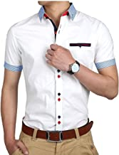 Jeevaan Men's Plain Solid Slim Fit Cotton Half Formal Shirt