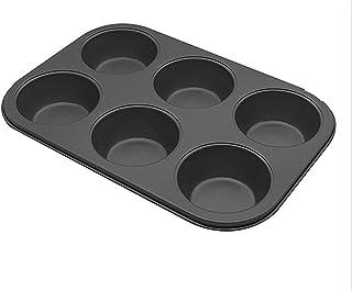 ZHEYANG Moule à gâteau 6 trous pour muffins en chocolat anti-adhésif en acier au carbone (couleur : noir)