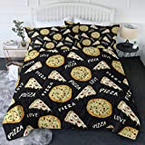 BlessLiving Junk Food Black Comforter and Pillow Shams Pizza Pattern 3D Bedding Set 3 Piece Bedroom Set Bedspread Winter Warm Reversible Pizza Words Printed Bed Sets (Twin/Twin XL)