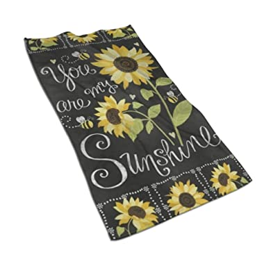 antoipyns Stylish You are My Sunshine Sunflowers Print Highly Absorbent Large Decorative Hand Towels Multipurpose for Bathroom, Hotel, Gym and Spa (16 X 30 Inches)