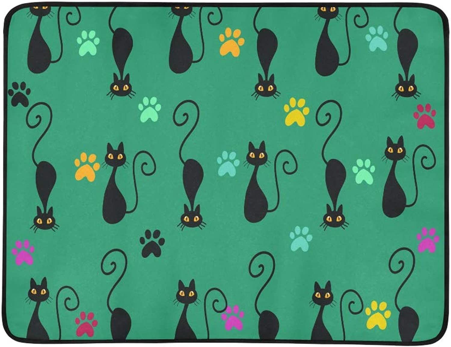 Cute Black Cats and Colourful Footprints Pattern Portable and Foldable Blanket Mat 60x78 Inch Handy Mat for Camping Picnic Beach Indoor Outdoor Travel