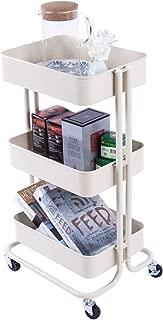 JZBZZZ 3 Tier Cart Metal Rolling Utility Cart Storage Cart with Wheels Kitchen Bedroom Office Indoor or Outdoor Storage Organizer (Beige)