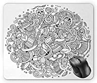 Doodle Mouse Pad, Latin American Theme Line Art Fiesta Mask Mexican Argentina Brazilian Chili Charcoal Grey White Mouse Pad