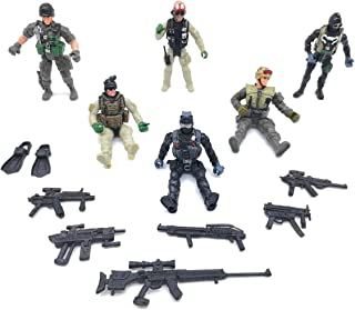 Qiandier 6 Pcs Military Team Action Soldiers Special Force Marine Recon Figure Elite Force Army