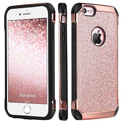 BENTOBEN iPhone 6 Coque, iPhone 6s Coque, Etui Housse de Protection Pailletée Bling Brillante Antichoc Durable Résistante 2 en 1 Hybride PC Dur + TPU Souple Coque pour iPhone 6/6s,Fille Femme,Or Rose