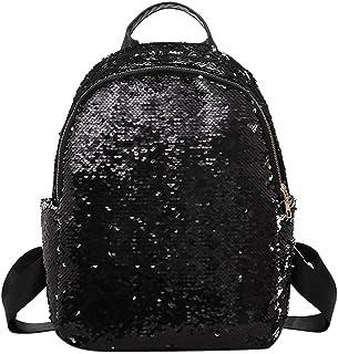 HILLTREK Glitter Sequins Women Party Shoulder Handbags Girls Casual Travel Backpacks(Black 30L)