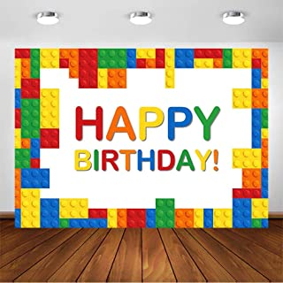 COMOPHOTO Birthday Party Photography Backdrop Colorful Building Blocks Boy Girl Baby Child Birthday Party Banner Decorations Photo Booth Background for Pictures