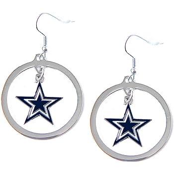 aminco NFL Womens NFL Crystal Bead Hoop Earrings