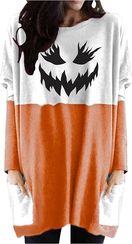 Jaqqra Halloween Sweatshirts for Women Casual Long Sleeve Pumpkin Printed Long Shirt Loose Pullover Tops with Pockets