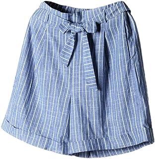 FRAUIT Pantaloni Donna Corti Eleganti Pantaloncini Ragazza Estivi Larghi A Righe in Lino Pantalone Cotone Elasticizzato Be...
