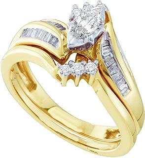 Dazzlingrock Collection 0.50 Carat (ctw) Marquise, Round & Baguette Diamond Ladies Engagement Ring Set 1/2 CT, 14K Yellow Gold