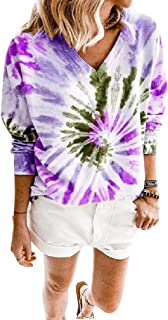 HEFASDM Womens Loose Long Sleeves Tie Dyed V Neck Autumn Tunic T Shirts Tops Blouse