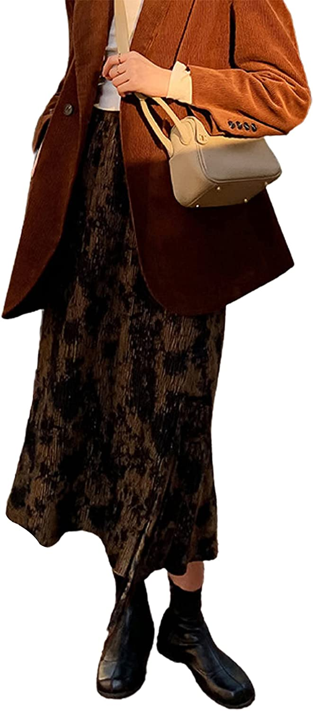 CHARTOU Women's Vintage Elastic High Waist Floral Printing Slit A-Line Midi Long Skirt