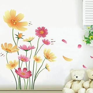 Chrysanthemums Butterflies Dragonflies Garden Wall Decal PVC Home Sticker House Vinyl Paper Decoration WallPaper Living Ro...
