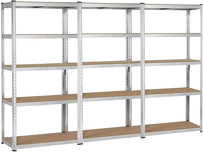 Topeakmart 5 Tier Storage Rack Heavy Duty Adjustable Garage Shelf Steel Shelving Units 71in Height 3 Bay Garage Shelves