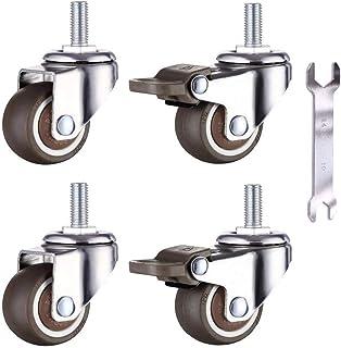 4 wielen voor meubels M6x15mm met schroefdraad 25mm zacht rubber TPE schroefdraad mini wielen meubelwielen (2 stuks met rem)