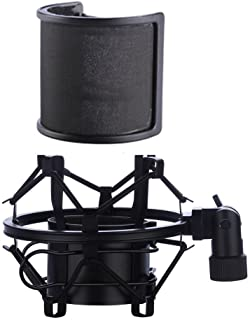 Microphone Shock Mount with Pop Filter Mic Anti-Vibration Suspension Shock Mount Holder Clip for Diameter 46mm-53mm Microp...