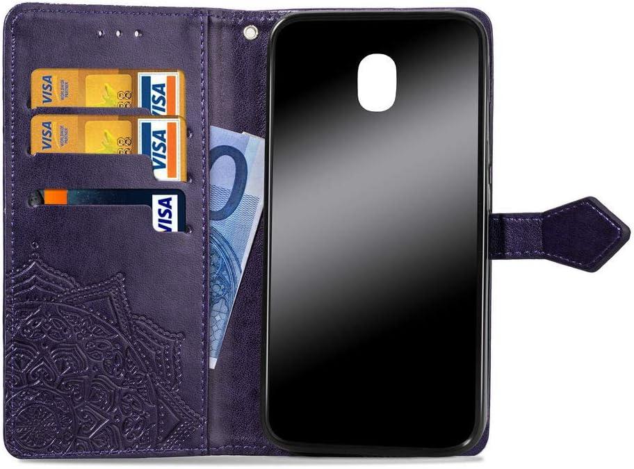 Rose Gold COTDINFORCA J3 Pro Wallet Case Slim Premium PU Flip Cover Mandala Embossed Full Body Protection with Card Holder Magnetic Closure for Samsung Galaxy J3 Pro 2017 J330 SD Mandala