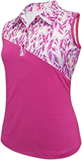Monterey Club Ladies Dry Swing Feather Color Contrast Sleeveless Shirt #2375