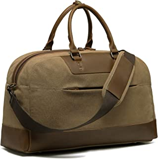 Vintage Canvas Duffle Bags for Men, Kasqo Water-Resistant Travel Weekender Carry-on Duffel Overnight Bag Hiking Holdall with Detachable Padded Shoulder Strap, Khaki (Yellow) - KA3321KQ