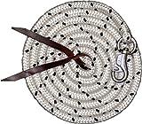 Amesbichler Reitsport Bodenarbeitsseil 3,2 m Bodenleine Führseil mit Bull Snap Pferdeausbildungsstrick Western Rope für Horsemanship und Bodenarbeit weiß/schwarz