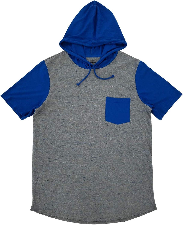 The Foundry Mens Big & Tall Heather Gray & Blue Hoodie Shirt Pocket Tee