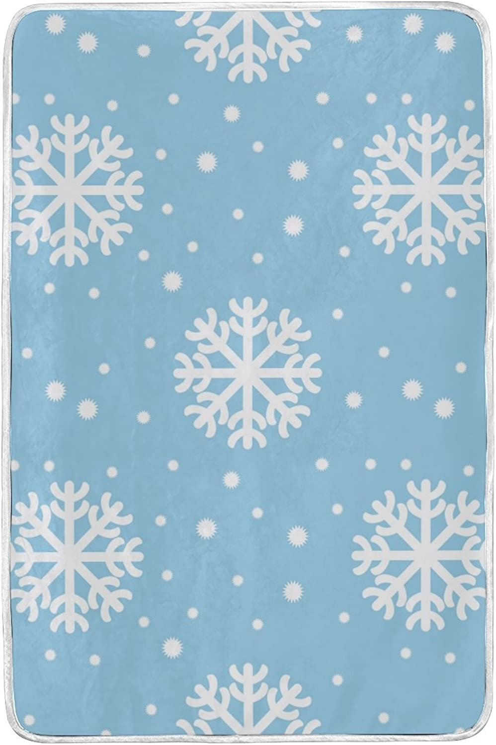 JSTEL Snowflakes Christmas And New Year Lightweight Blanket for Adults Men Women Girls Kids Girls Boys Teens Bed Extra Soft Polyester Fabric Super Warm Sofa Blanket Throw Size 60 x 90 Inch