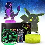 3D Pi-Kachu Toys Night Light - Three Patterns and 16 Color Change Decor Lamp with Remote Control, Christmas Gifts for Kids, Boys, Girls