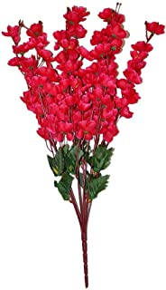 CELEBRATION Artificial Peach Blossom Flower Bunch (9 Stems, Red) for Home and Other Decoration Stick-7 Bunch RED