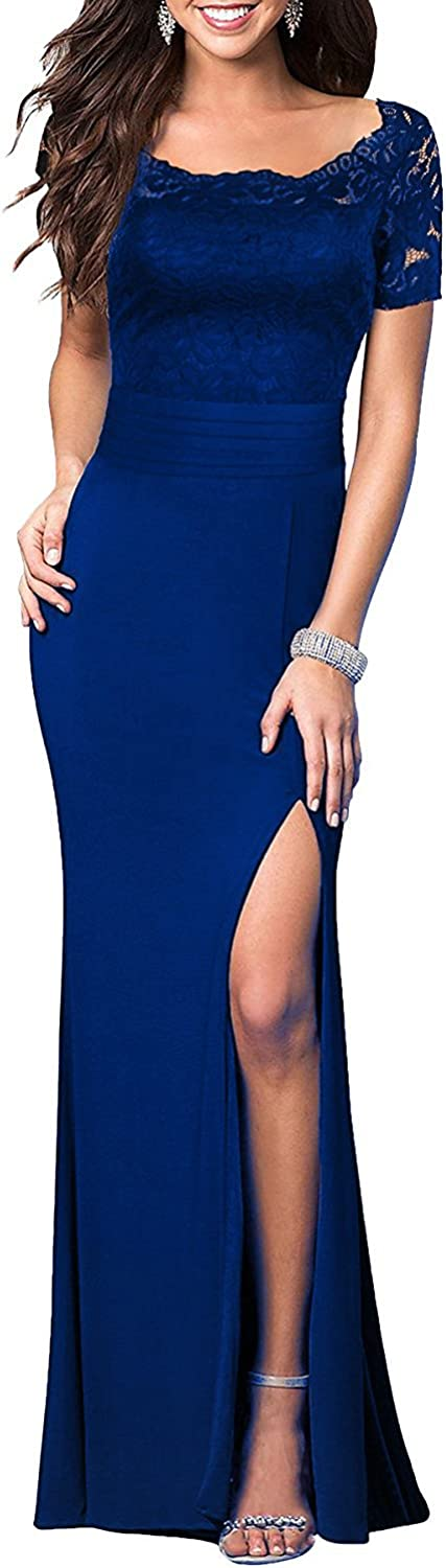 BessWedding Women's 2018 Formal Long Lace s Satin Prom Dresses Evening Gown BP008