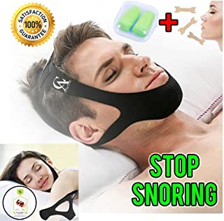 Anti Snoring Chin Strap Complete Package, best Chin Strap, Comfortable, High Quality, Instant Relief, Adjustable Size, For Men, For Women + 5$ Value Bonus (3 Nasal Strips & 1 Pair of Premium Ear Plug)