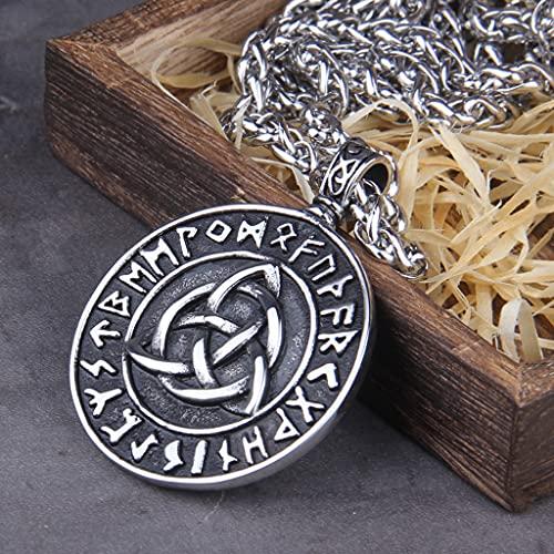 YABEME Odin Rune - Collar con Colgante de Triple Cuerno, Joyería de Amuleto Pagano Celta Escandinavo Vikingo Nórdico, con Cadena de Acero Inoxidable de 24 Pulgadas