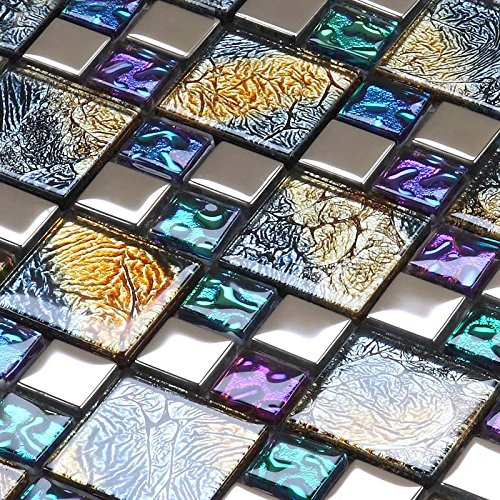 Hominter 6-Sheets Multi Colored Backsplash Tile, Silver Coated Glass Mosaic Tiles, Clear Glossy Crystal Kitchen Tiles, Perfect for Bathrooms and Shower Walls D1391