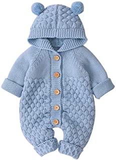 Clearance Sale! Baby Boys Girls Hooded Romper, Toddler Kids Solid Button Knit Outwear Jumpsuit