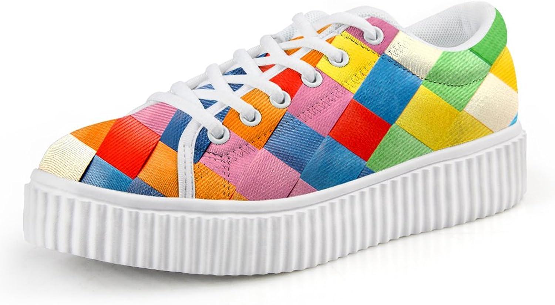 Chaqlin Fashion colorful Lattice Printing Platform shoes Creeper Sneakers