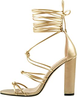 Women's Gladiator Crisscross Block Heel Strappy Sandals