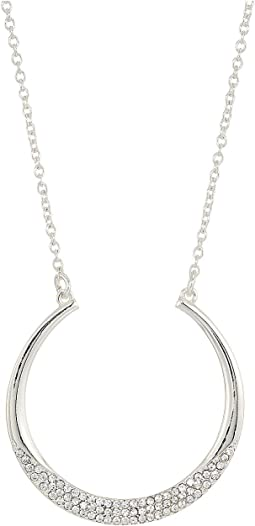 "Everyday Crystal 16"" Crescent Pendant w/Pave Stones Necklace"