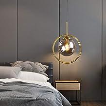 Led glas bal plafondlamp geel warm licht ijzer gouden kroonluchter dining woonkamer studie slaapkamer eenvoudige moderne t...