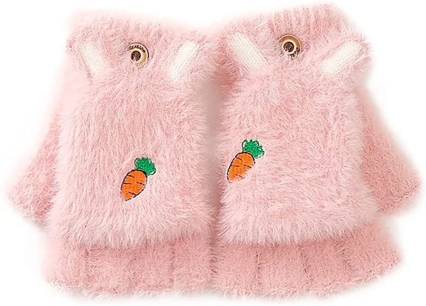 SANGHAI Knitted Gloves Kids Winter Knitted Glove with Cute Wool Newborn Mittens Snowdays Fight Warm Mittens Knitted Mittens for Boys Girls Light Pink