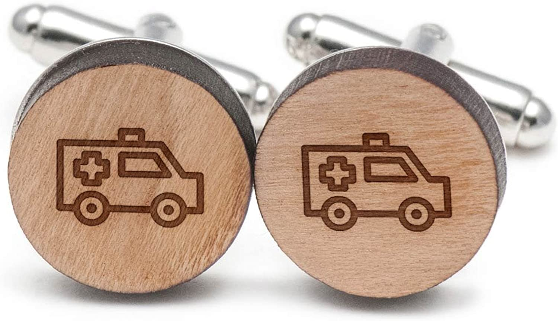 Ambulance Hospital Cufflinks, Wood Cufflinks Hand Made in the USA