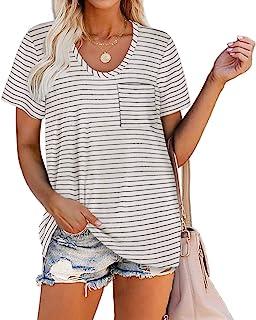 Women Summer T Shirts Short Sleeve Rounded V Neck Pocket...