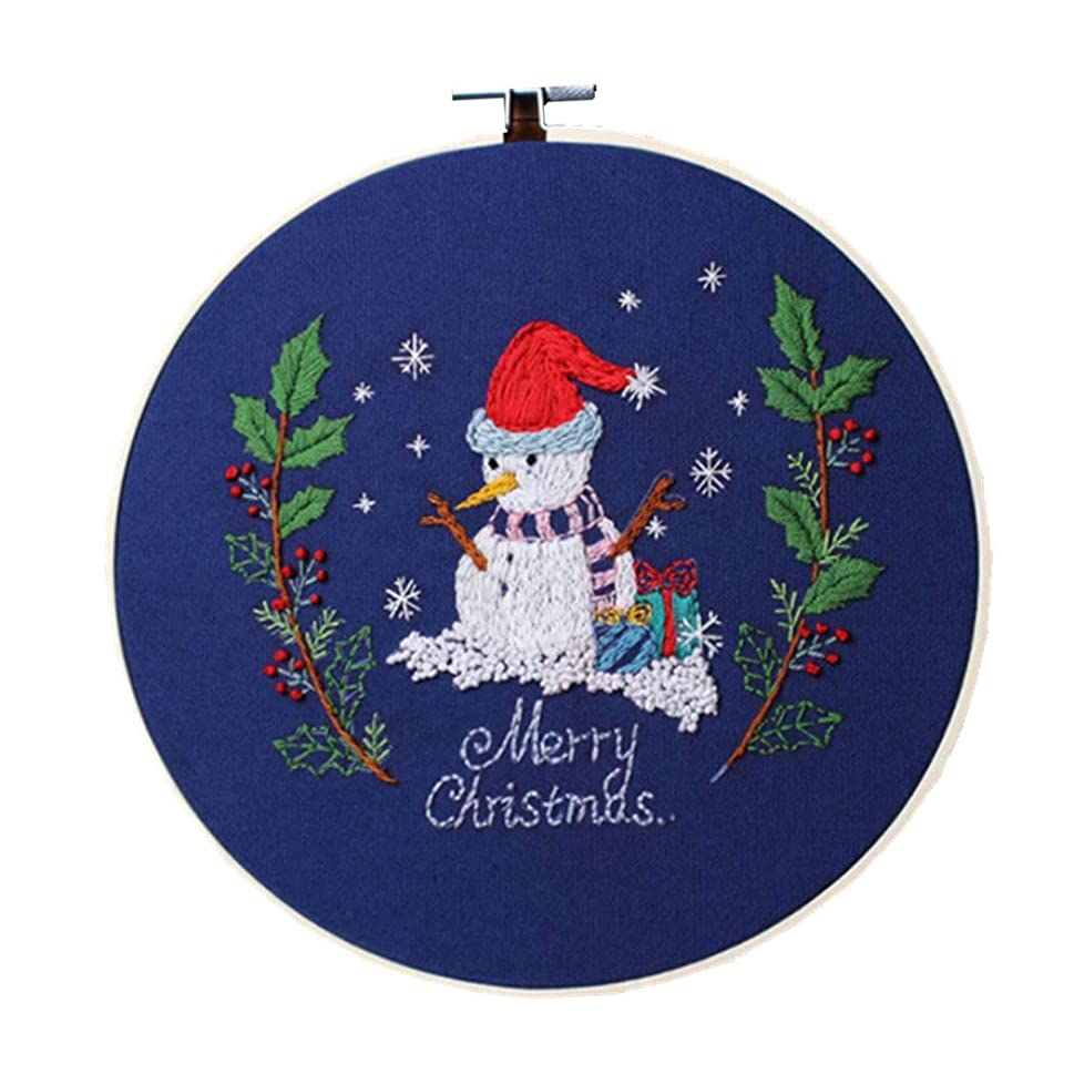 Handmade Embroidery Starter Kit with Partten Cross Stitch Kit Including Embroidery Cloth,Bamboo Embroidery Hoop, Color Threads, and Tools Kit for Beginner (Christmas Snowman)