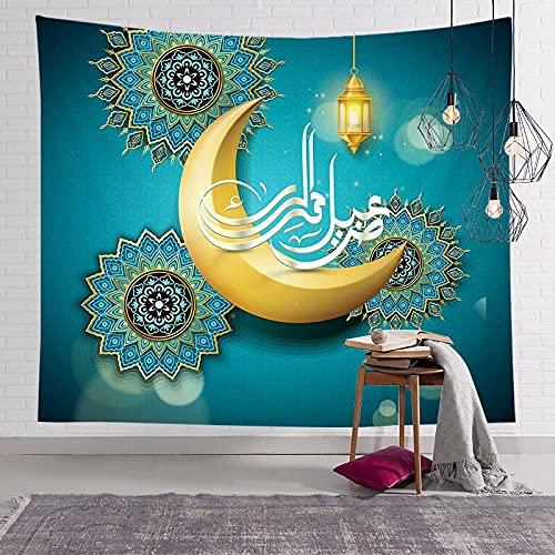 KHKJ Musulmán Luna Castillo Tapiz Colgante de Pared Viajar Camping Pintura al óleo Manta Boho Almohadilla de Yoga Tapices para Dormir A4 150x130cm