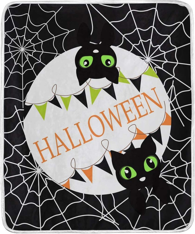 Halloween Pumpkin Cat Spider Autumn Fall Throw Blanket Soft Nap Couch Bed Blankets Kid Boy Girl Women Men 50x60 inch