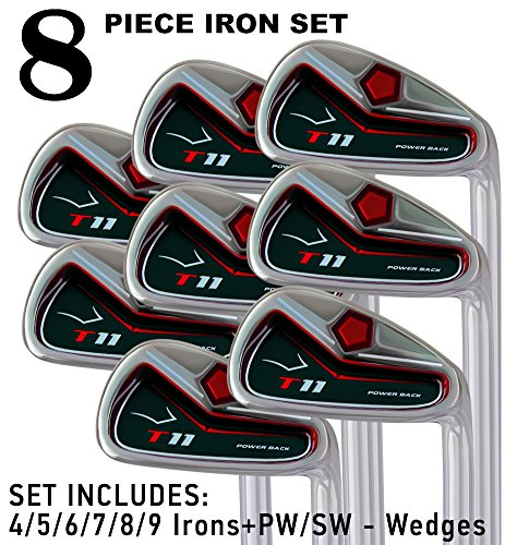 """T11 Power Back Tall Iron Set 4-SW Custom Made Golf Clubs Right Hand Regular R Flex Steel Shafts MIDSIZE Grips +1"""" Longer Men's Standard Irons"""