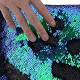 TRLYC Two Yards 5MM Reversible Sequin Fabric Green and Black Sequin Fabric, by The Yards, Mermaid Sequin Fabric, Linen