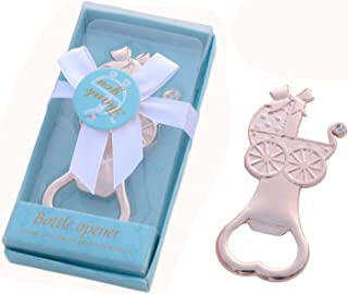 Yansanido 24 pcs Baby Shower Return Gifts for Guest Supplies Rose Gold Baby Carriage Shaped Bottle Opener For Guests Party Souvenirs Decorations (24pcs Baby Carriage Blue)